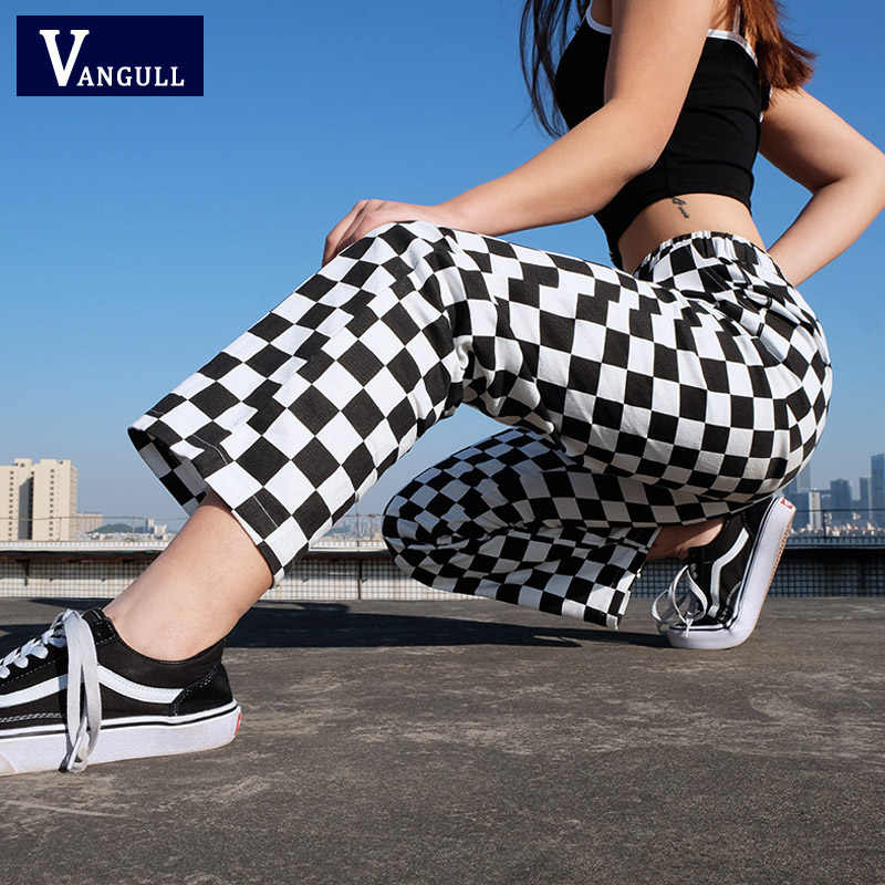 Vangull Plaid Broek Womens Hoge Taille Geruite Straight Losse Zweet Broek Casual Mode Broek Pantalon Femme Joggingbroek