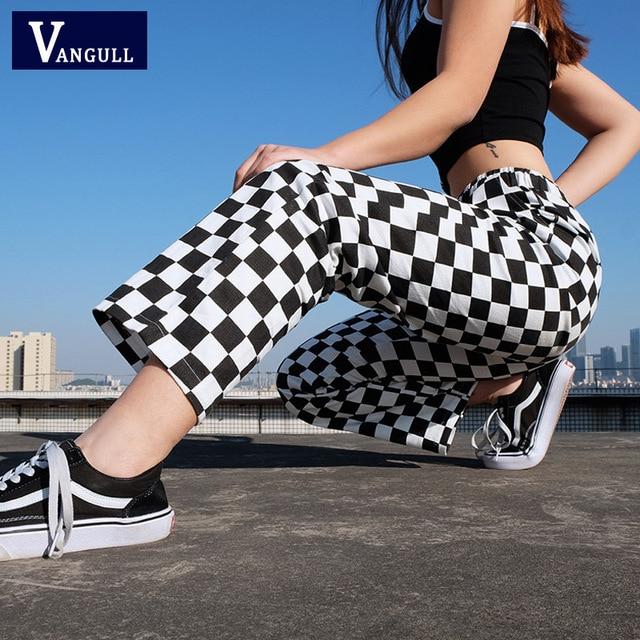 Vangull 격자 무늬 바지 여성 높은 허리 체크 무늬 스트레이트 느슨한 스웨트 바지 캐주얼 패션 바지 Pantalon Femme 스웨트 팬츠