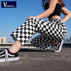 Image 1 - Vangull ekose pantolon bayan yüksek bel damalı düz gevşek ter pantolon rahat moda pantolon Pantalon Femme Sweatpants