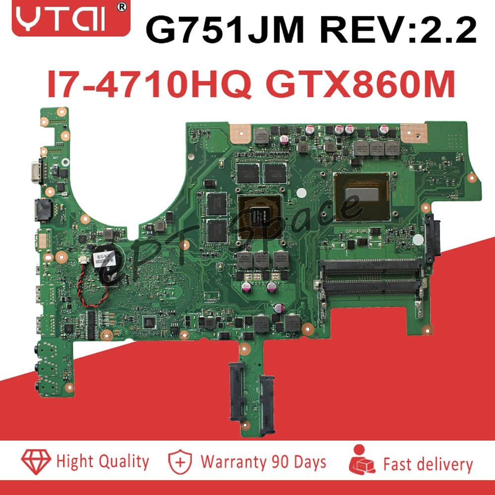 G751JM motherboard REV2 2 For ASUS G751J G751JY G751JT G751JM laptop mainboard with I7 4710HQ GTX860M