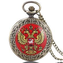 Famous Russian Double-headed Eagle National Emblem Dome Commemorative Badge Design Pocket Watch Art Collections for Men Women