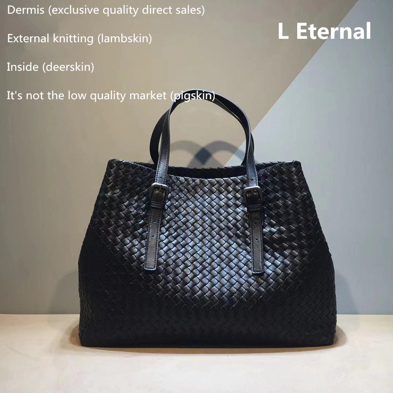 Woman Woven Bag Genuine Leather Sheepskin Internal And External Dermis Adjustable Shoulder Straps High-capacity Shopping Handbag