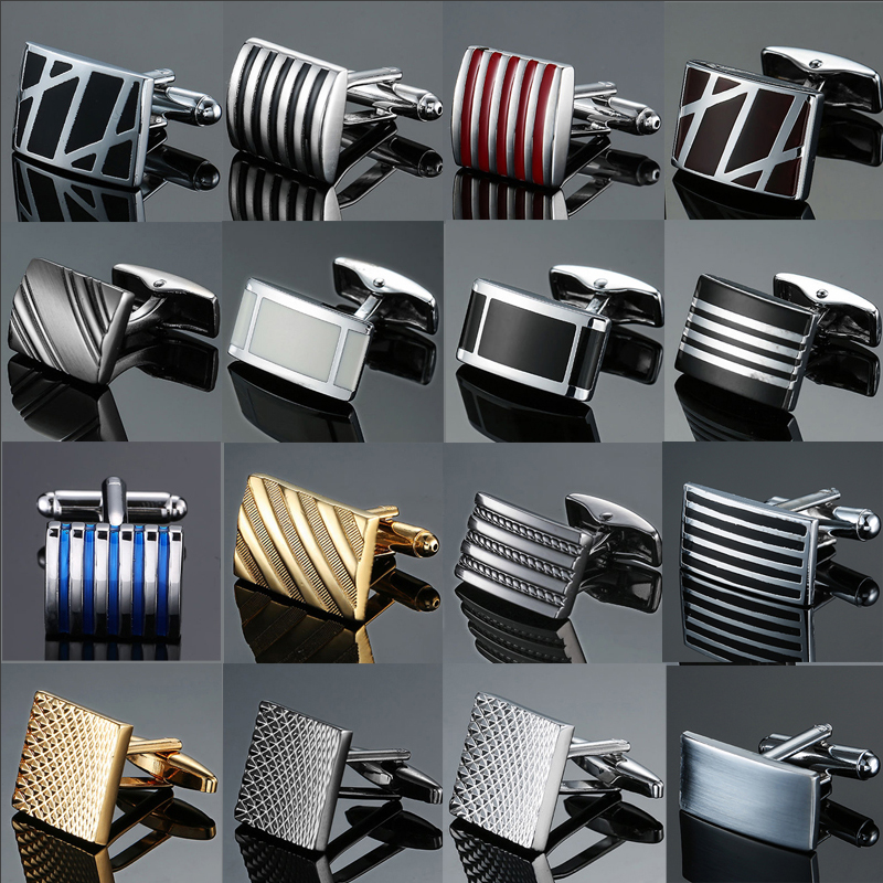 Shirt Cufflinks Silver Copper-Quality French Black Stripes Top-Brand Men's Enamel Square