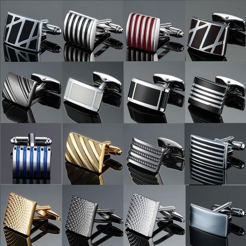 Copper quality enamel square stripes gold silvery black flower cufflinks Top brand men's French shirt cufflinks(China)