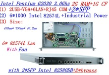 RAM 2G SSD 1G industrial 1U firewall server router 6 *1000M INTEL Gigabit with 2*SFP 2*bypass G2030 3.0Ghz Mikrotik PFSense ROS