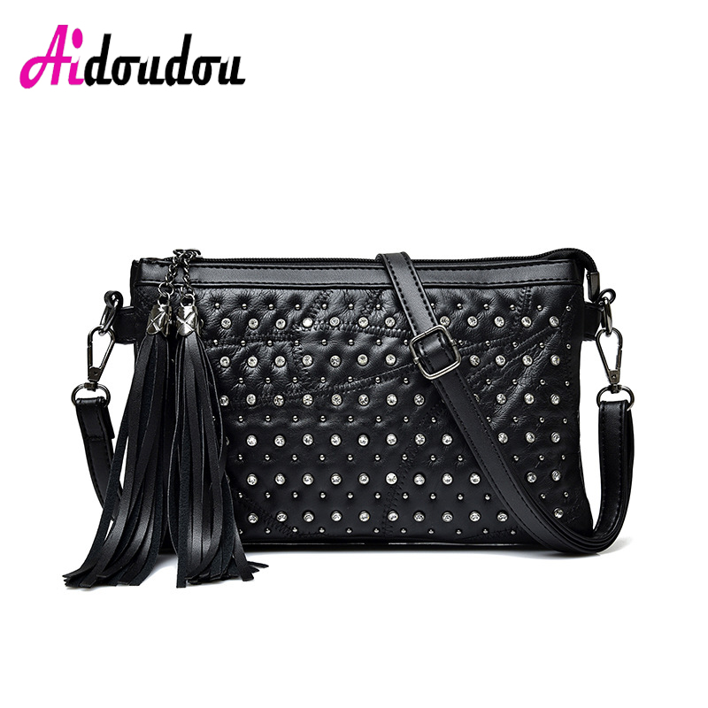 Brand Chains Shoulder Bag For Women Small Handbag Purse With Rivets Female Tassel Crossbody Bags Small Flap Silver/Black stitching chains metallic tassel crossbody bag