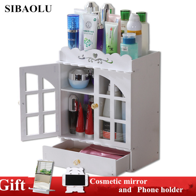 Large Plastic Makeup Organizer Cosmetic Storage Box Desktop Drawer  Organizer Kin Care Products Shelf Tabletop Cosmetic