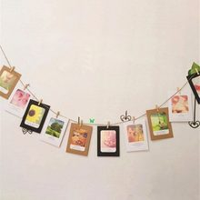 7Pcs/set 7 Inch Wooden Paper Photo DIY Flim Hanging Wall Album Frame Rope Clips Gift Wedding Ornaments Home Decoration(China)