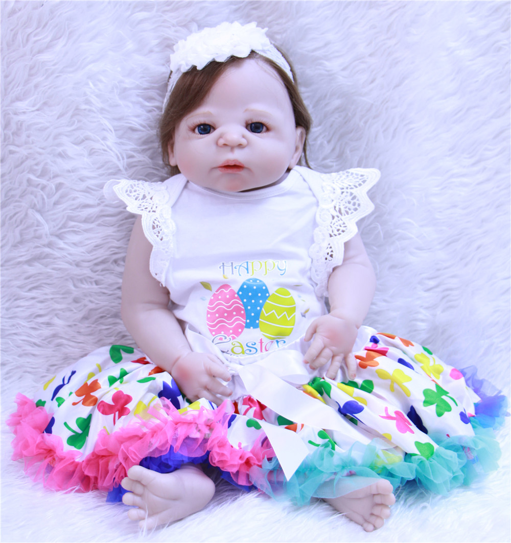 Lovely bebe girl reborn 23 full body silicone reborn dolls for children gift princess dolls rooted hair bonecas rebornLovely bebe girl reborn 23 full body silicone reborn dolls for children gift princess dolls rooted hair bonecas reborn