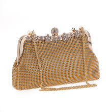 Bamboo Charm Fashion Evening Handbag Tote Metal Handle Hasp Clutch Flower Rhinestones Hobos Shoulder Bag Casual Party Pouch