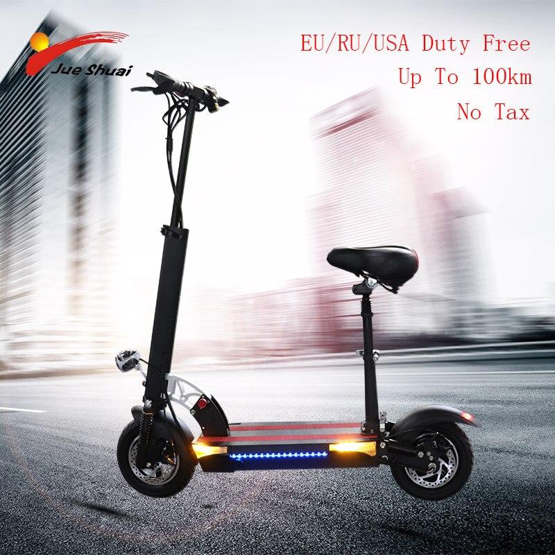 """Longue distance 100km Scooter électrique 10 """"48V500W moteur roue 26AH batterie adulte coup de pied e scooter pliant patinete electrico adulto"""