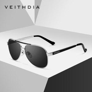 Image 3 - VEITHDIA lunettes de soleil pour hommes, verres en acier inoxydable, lentille verte polarisée, accessoires lunettes, 3152