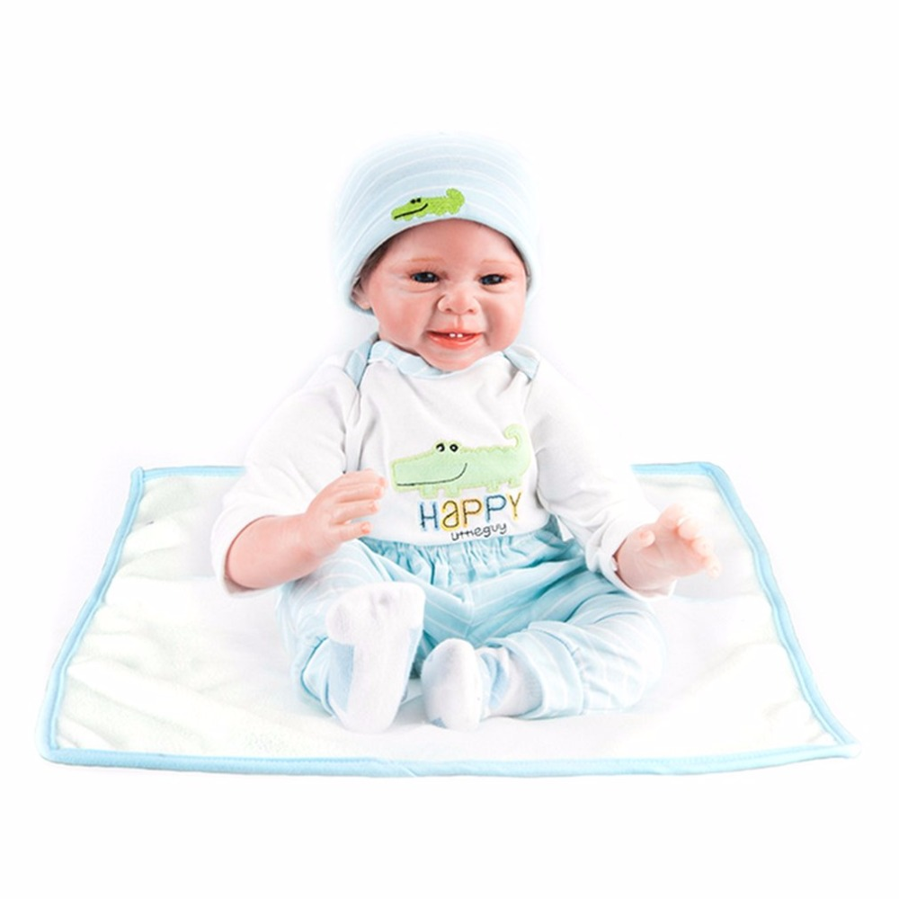 Cute 55cm Sound Laugh Reborn Baby Dolls Toy Blue Clothes Soft Silicone Lifelike Newborn Baby Toys for Boys Girls Birthday Gift 50cm reborn dolls boys silicone reborn baby dolls toys for girls gift novelty lifelike baby newborn doll include clothes and hat