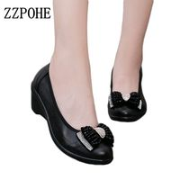 ZZPOHE spring new women's leather shoes ladies soft bottom fashion shoes slope comfort mother large size black work shoes 40 41