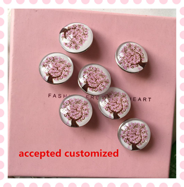 80068b71547 October new 18mm alloy glass Breast Cancer buttons DIY pink ribbon life  tree hand-making jewelry customized 10pcs/lot,PRS004