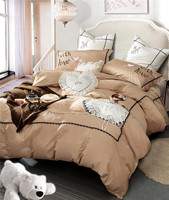 Милые Девочки Вышивка 60 S Египетский хлопок постельные принадлежности с рюшками набор королева король размер пододеяльник кровать льняное