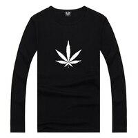 Mens Black Weed Emoji Logo Print Long Sleeve T Shirt Swag Cool Awesome Man Printed Tshirt