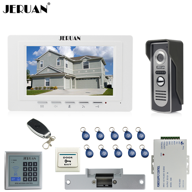 JERUAN 7`` Video Door phone Intercom System kit 1 Monitor 700TVL IR Night Vision Camera RFID Access Control Electric Strike lock jeruan three 7 monitor color video door phone intercom 700tvl rfid access ir night vision camera electric mortise lock 8gb card
