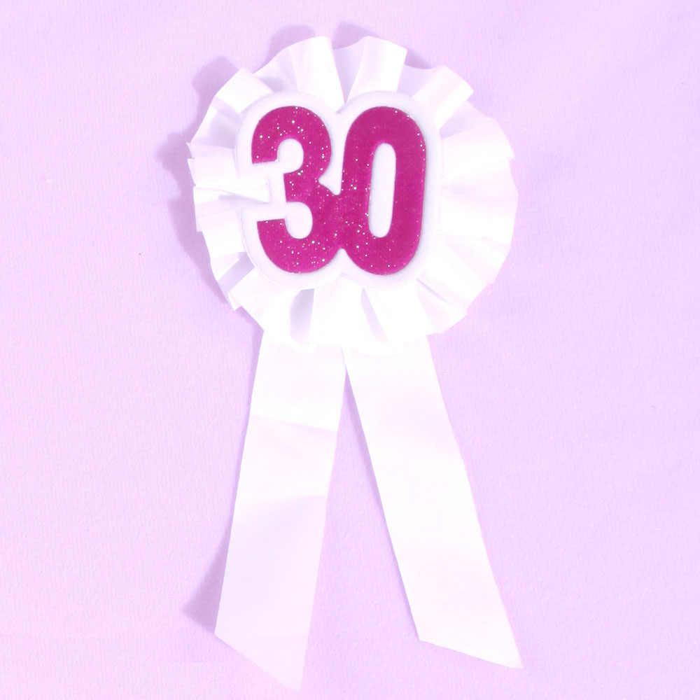 50 человек женщина Днем Рождения» брошь белая лента 50% скидка на 3 шт. 21 30 40 50 сувенир брошь на день рождения пользу события партии знак