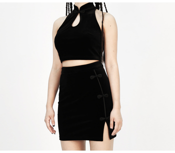 Hem Split Ends Plate Buckle Tight Women Skirt Sexy Sleeveless Tee