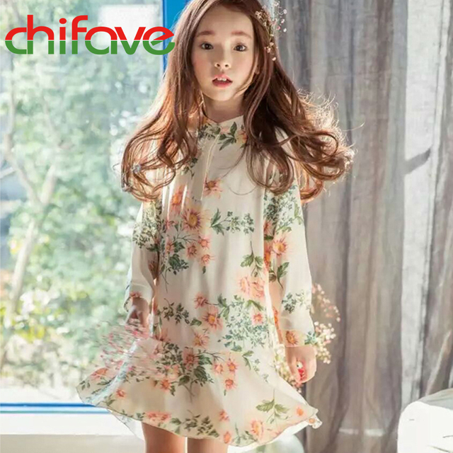 chifave 2016 New Spring Summer Girls dress Fashion Kids Children Clothes Floral Long Sleeve Cute Girls Dress
