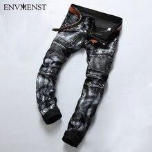 Envmenst 2017 herrenmode marke designer ripped biker jeans männer distressed moto denim jogger gewaschen plissee jean hosen