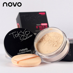 NOVO New 4 Colors Smooth Loose Powder Makeup Transparent Finishing Powder Waterproof Cosmetic For Face Finish Setting With Puff