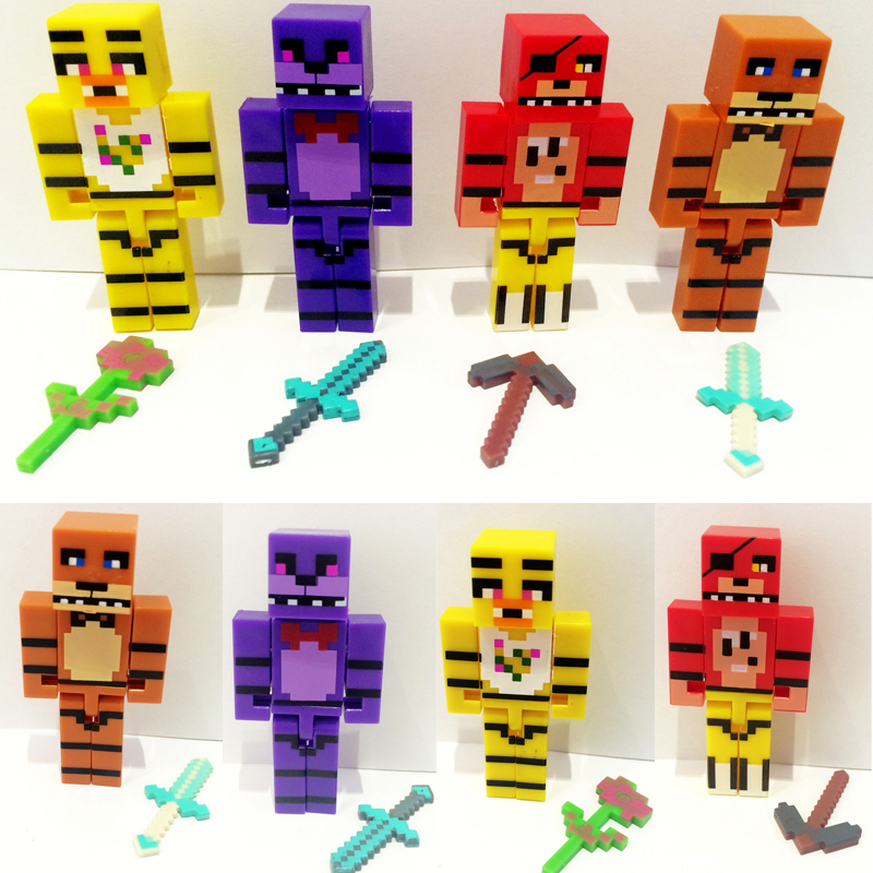 4pcs set Minecraft Five Nights At Freddy s 4 FNAF Doll with Weapon Props Foxy Chica