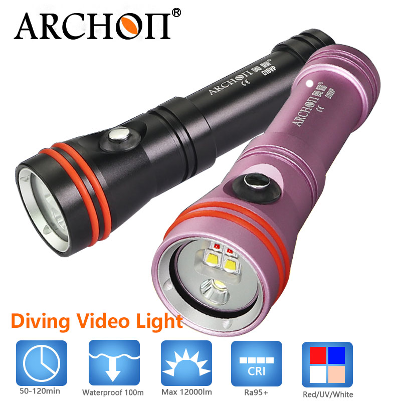 ARCHON waterproof 100m Diving Flashlight Video Spot Light White Red CREE LED 1300 lm 110/30 Degree Underwater Flashlight light sport car style 2 led white light flashlight keychain w sound effect red 4 x lr41