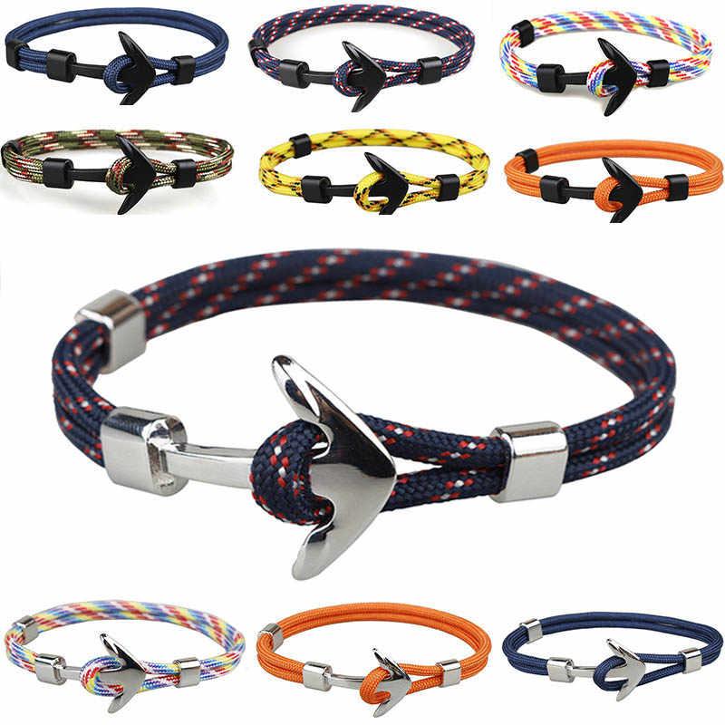 Новый Aiive Серебряный/черный браслет из сплава с якорем многослойная веревочная цепь Паракорд Браслет для женщин мужчин темно-синий стиль подарок