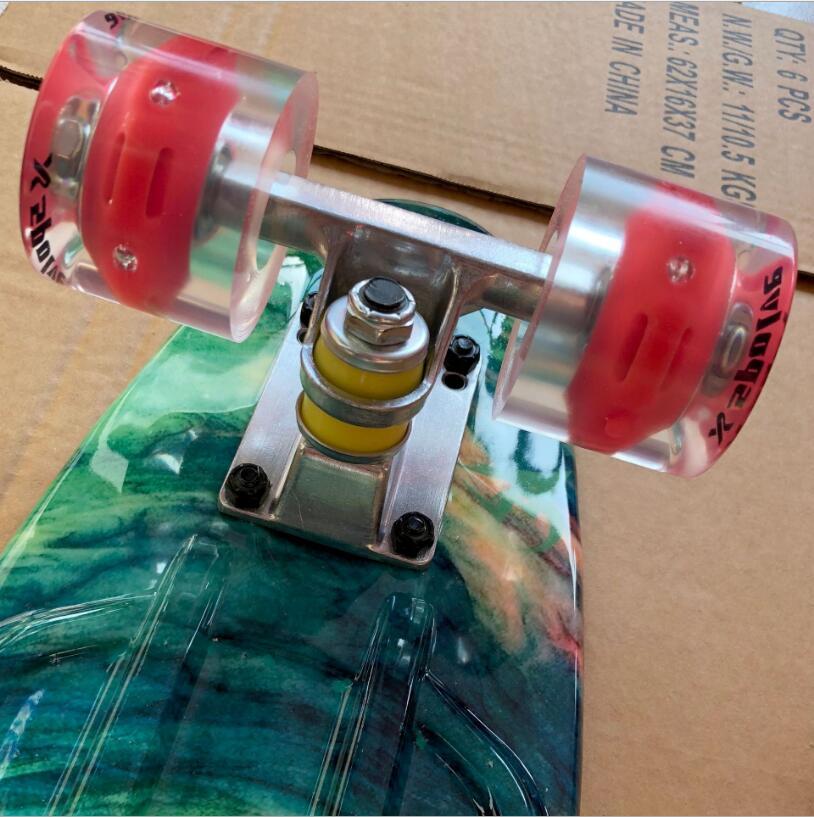 Image 2 - 22 Inches Long Skate Board Pattern Skateboard Long Board Penny Board Patins Single Rocker Loadbearing With Shinning Wheel-in Skate Board from Sports & Entertainment
