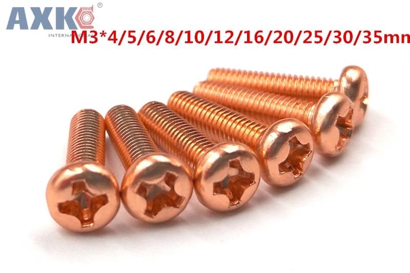 AXK M3 Aluminum Alloy color Phillips Screws Round Head Bolts Cross Slot Screw Bolt Orange b43465 u6258 m3 aluminum electrolytic capacitors screw terminal 2500uf 500v