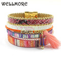 WELLMORE leather bracelet women charm bracelets magnet buckle Friendship bracelet  Bohemian bracelets&bangles women jewelryB1625