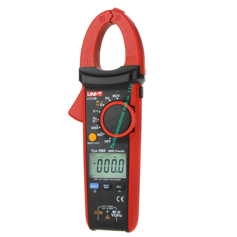 ФОТО  LCD Display 600A True RMS Digital Clamp Meters Auto Range  AC/DC/Resistance/Capacitance/  Data Hold  Multitester UNI-T UT216B