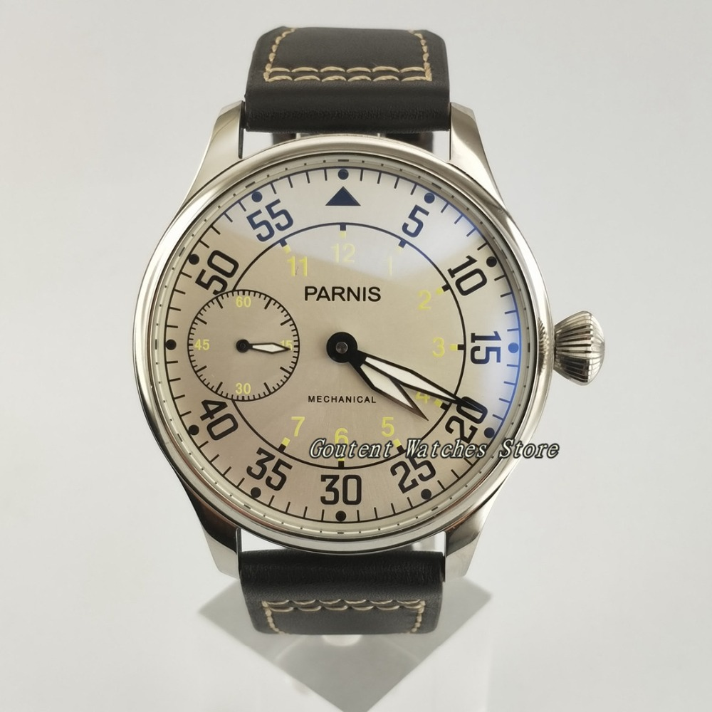 44mm Parnis White Dial Seagull st36 Mechanical 6497 Hand Winding Men's Watch