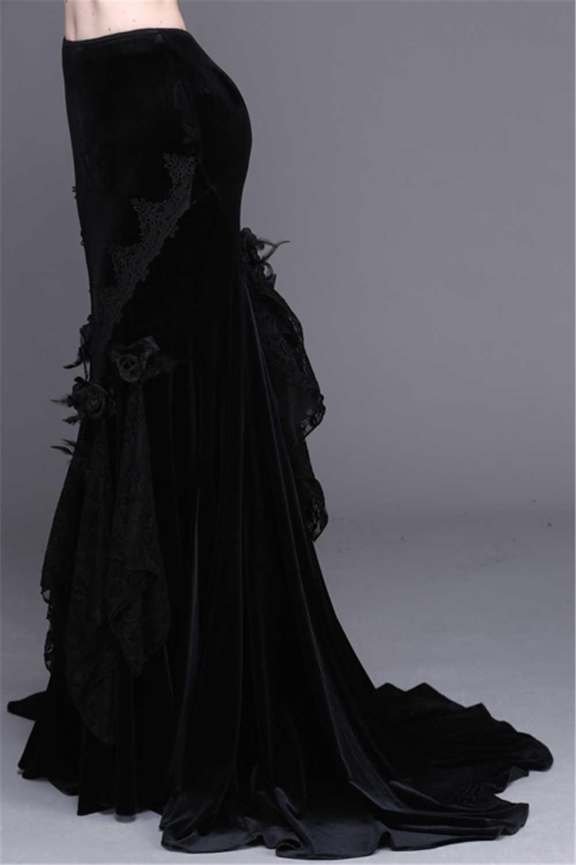 Gothic Victoria Black Sexy Maxi Bodycon Mermaid Skirt Rose