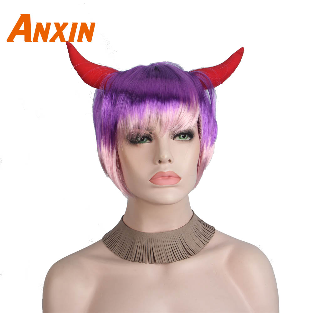 Anxin Short Straight Purple Pink Colorful Ombre With Devil Horns Halloween Wigs Cosplay Party For Girls