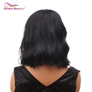 Image 3 - 16inch Short Body Wave Wig Brown Synthetic Lace Front Wig Heat Resistant Natural Black Bob Wig For Women Cosplay Golden Beauty