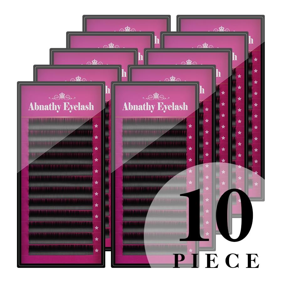 Abnathy Eyelash 10PCS LOT J B C D L Curl 8 14mm individual extension real silk