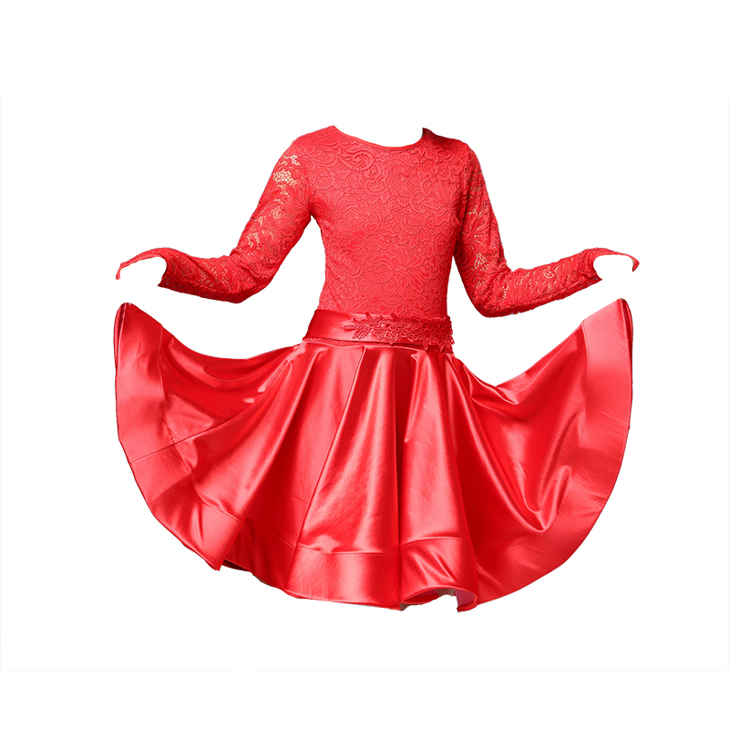 Image 5 - Платье для латинских танцев для девочек, с длинными рукавами, с кружевом, стандартные Бальные платья для детей, одежда для выступлений, одежда для сальсыЛатинский    АлиЭкспресс