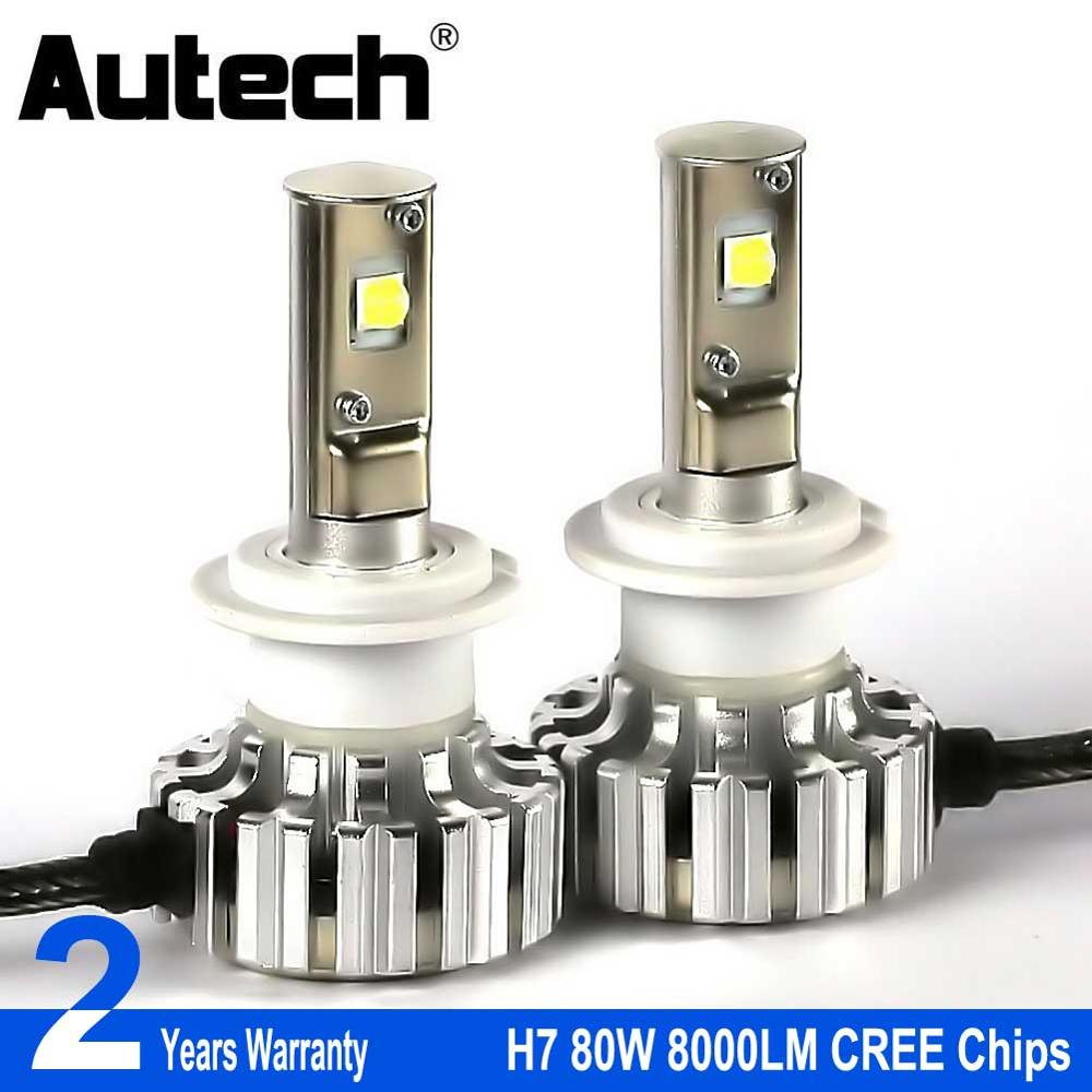 Autech H7 LED Headlight bulbs 80W 8000LM Car Headlamp Bulbs Head Lights 12V Fog light with CREE Chips Convert Kit All in one