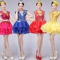 4 Colores Dama de salón de Baile trajes de danza Jazz mujeres latin hip hop patry vestido del baile de etapa trajes S-XXXL