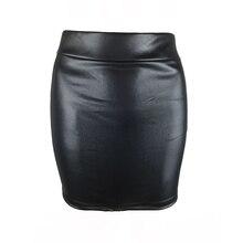 цена на Black Leather Skirt Shiny Women Ladies High Waisted Pencil Short Elasticated Waist Bodycon