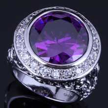 Fabulous Big Round Purple Cubic Zirconia White CZ 925 Sterling Silver Ring For Women V0567