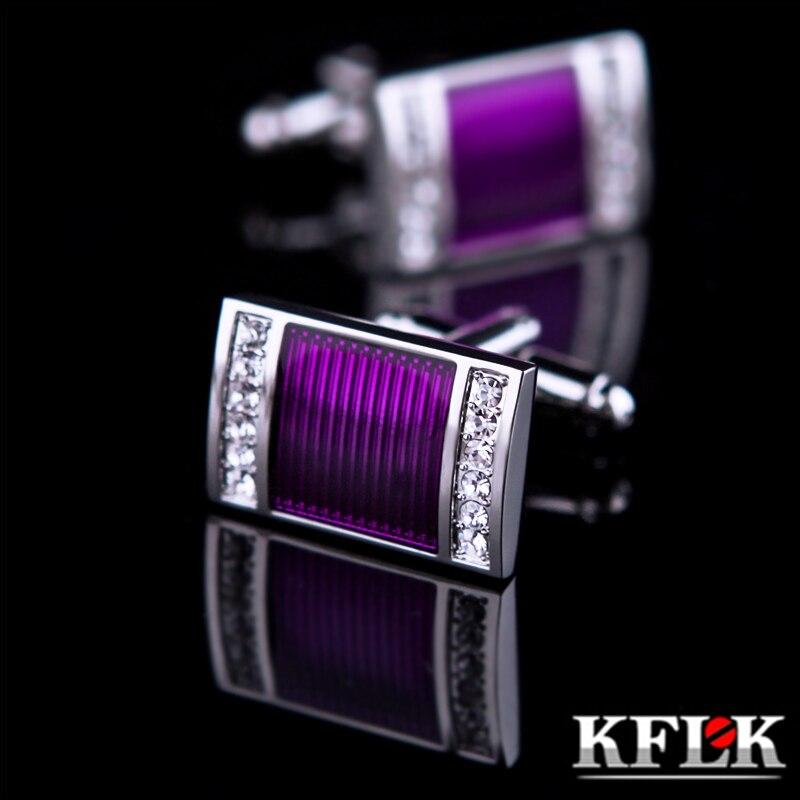 2016 KFLK bijoux chemise de mariage boutons de manchette pour hommes Marque boutons de manchette boutons De manchette En Cristal de Haute Qualité Pourpre abotoaduras Bijoux