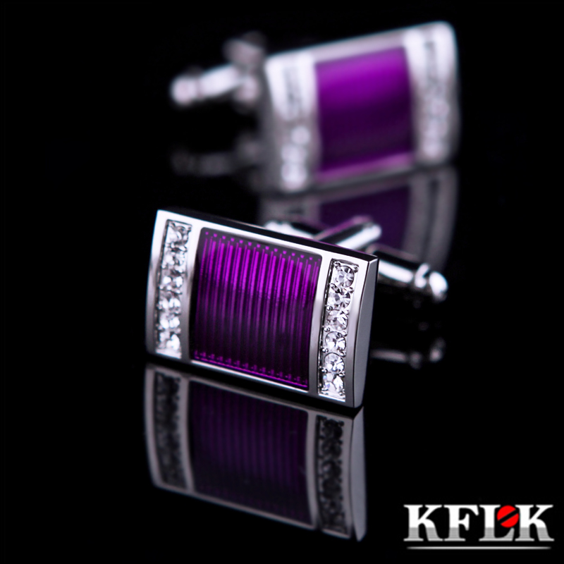 2016 KFLK jewelry shirt wedding cufflinks for mens Brand cuff buttons Crystal cuff link High Quality Purple abotoaduras Jewelry