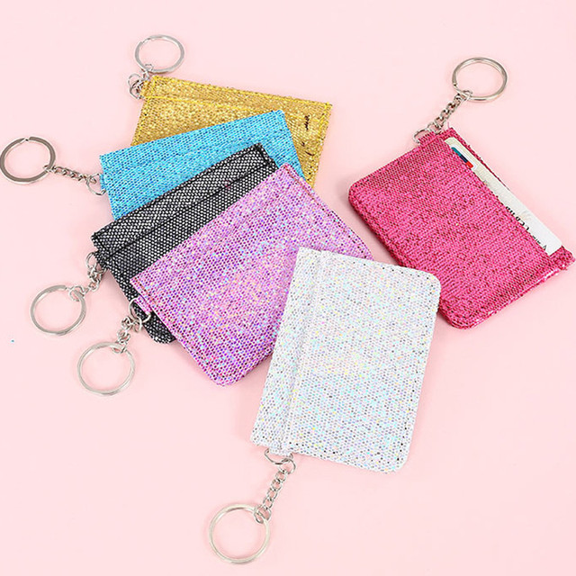 new Sequins Keychain Ring Driver License Holder Wallet Bag Glitter Bus Card  Covers Girls Mini Wallet ID Card Holder Organizer 5df802742e60