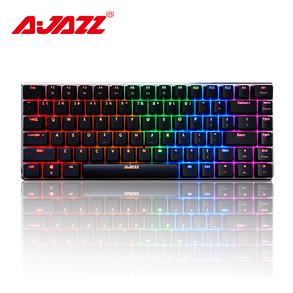 Ajazz AK33 <font><b>82</b></font>-key gaming <font><b>keyboard</b></font> wired mechanical <font><b>keyboard</b></font> Russian / English layout blue/black switch RGB backlit conflict-free image