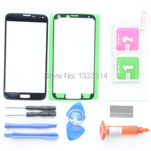 New Black Front Outer Glass Lens Screen Replacement For Samsung Galaxy S5 SV G900 G900A G900T G900V+Adhesive Tape+Tools Kit