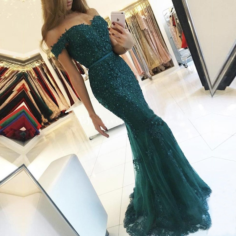 AE108 Off the Shoulder Long Dress Mermaid Evening Dress 2018 Lace Robe De Soiree longue Formal Dress abiye gece elbisesi